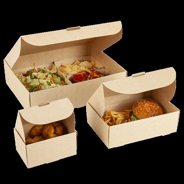 Scatola per alimenti in cartone avana biodegradabile